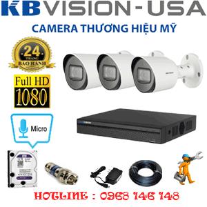 Lắp Đặt Trọn Bộ 3 Camera Kbvision 2.0Mp (Kb-231800)-KB-231800
