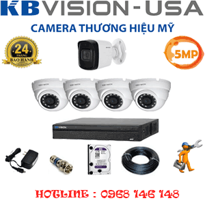 Lắp Đặt Trọn Bộ 5 Camera Kbvision 5.0Mp (Kb-5419120)-KB-5419120