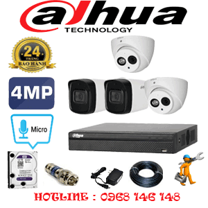 Lắp Đặt Trọn Bộ 4 Camera Dahua 4.0Mp (Dah-4227228)-DAH-4227228