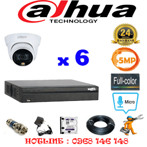 Lắp Đặt Trọn Bộ 6 Camera Dahua 5.0Mp (Dah-563300)-DAH-563300