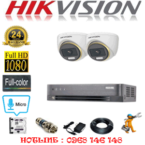 Lắp Đặt Trọn Bộ 2 Camera Hikvision 2.0Mp (Hik-224500)-HIK-224500