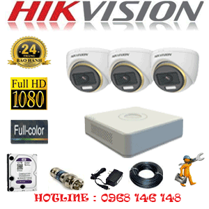 Lắp Đặt Trọn Bộ 3 Camera Hikvision 2.0Mp (Hik-233900)-HIK-233900