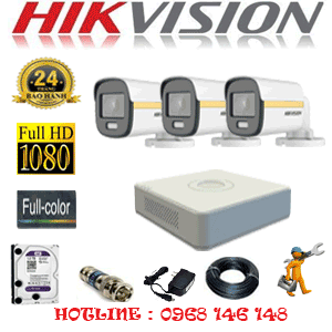 Lắp Đặt Trọn Bộ 3 Camera Hikvision 2.0Mp (Hik-234000)-HIK-234000