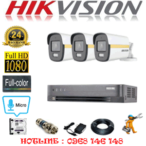 Lắp Đặt Trọn Bộ 3 Camera Hikvision 2.0Mp (Hik-234600)-HIK-234600