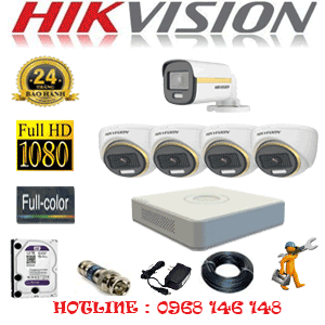 Lắp Đặt Trọn Bộ 5 Camera Hikvision 2.0Mp (Hik-2439140)-HIK-2439140