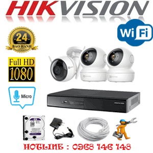 Lắp Đặt Trọn Bộ 3 Camera Wifi Hikvision 2.0Mp (Hik-2251152)-HIK-251152