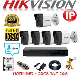 Lắp Đặt Trọn Bộ 5 Camera Ip Hikvision 2.0Mp (Hik-255000)-HIK-255000