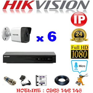 Lắp Đặt Trọn Bộ 6 Camera Ip Hikvision 2.0Mp (Hik-265000)-HIK-265000