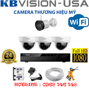 Lắp Đặt Trọn Bộ 4 Camera Wifi Kbvision 2.0Mp (Kb-2325126)-KB-2325126