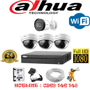 Lắp Đặt Trọn Bộ 4 Camera Wifi Dahua 2.0Mp (Dah-2341142)-DAH-2341142