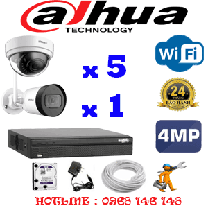 Lắp Đặt Trọn Bộ 6 Camera Wifi Dahua 4.0Mp (Dah-4543144)-DAH-4543144