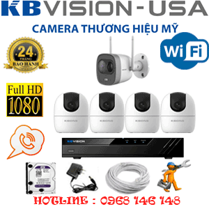 Lắp Đặt Trọn Bộ 5 Camera Wifi Kbvision 2.0Mp (Kb-2429130)-KB-2429130