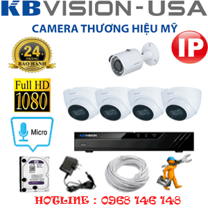 Lắp Đặt Trọn Bộ 5 Camera Ip Kbvision 2.0Mp (Kb-2433134)-KB-2433134