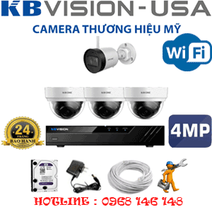 Lắp Đặt Trọn Bộ 4 Camera Wifi Kbvision 4.0Mp (Kb-4327128)-KB-4327128
